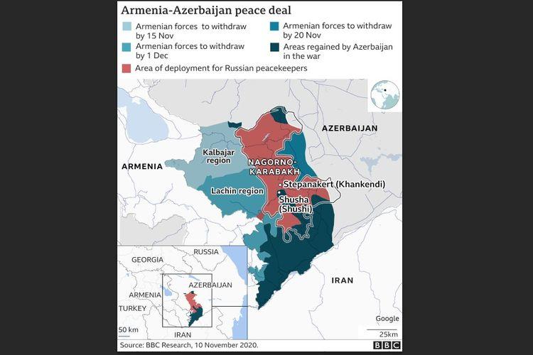 Gambaran peta perjanjian damai antara Azerbaijan dengan Armenia.