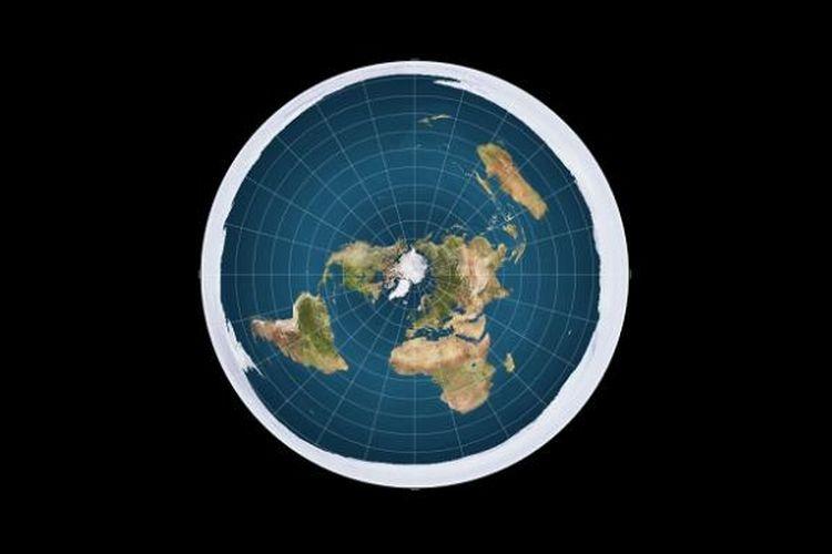 Peta Bumi jika digambarkan sebagai obyek yang datar serupa piringan.