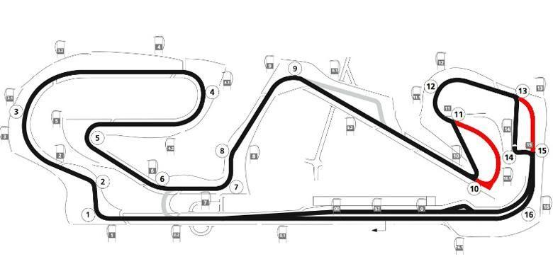Sirkuit Catalunya, Spanyol, berubah setelah meninggalnya pebalap Moto2 Luis Salom. Bagian merah tidak lagi dipakai untuk GP Spanyol 2016.
