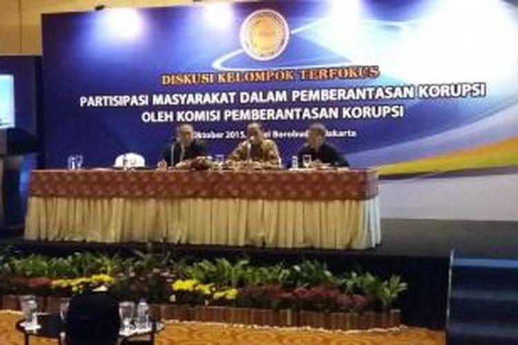 Diskusi Lembaga Pengkajian Independen Kebijakan Publik, di Hotel Borobudur, Jakarta Pusat, Selasa (13/10/2015).