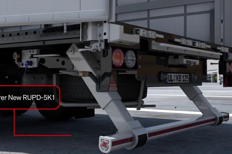 Ilustrasi rear underrun protection yang terpasang pada truk