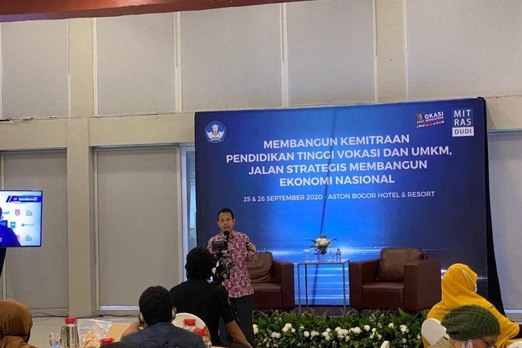 Seminar ?Membangun Kemitraan Pendidikan Tinggi Vokasi dan UMKM, Jalan Strategis Membangun Ekonomi Nasional? pada Sabtu (26/9/2020).