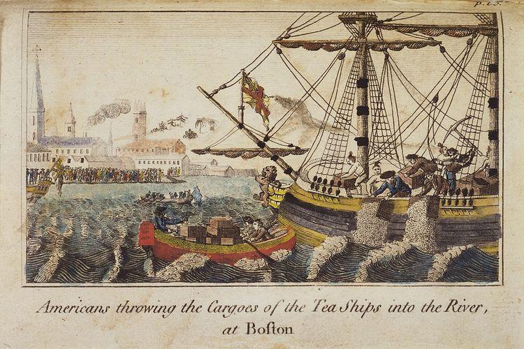 Boston Tea Party, salah aksi untuk menentang Tea Act yang dikeluarkan Parlemen Britania Raya pada 10 Mei 1773.