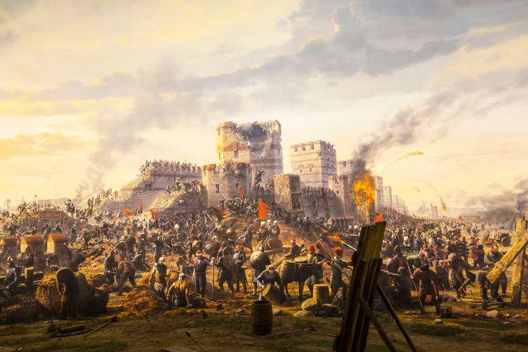 Ilustrasi Penaklukan Konstantinopel oleh Turki Utsmani pimpinan Sultan Mehmed II.
