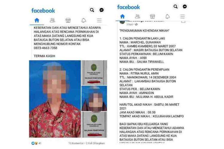Dua orang anak dibawah umur, MG (14) dan FN (16) yang berencana akan melangsung pernikahan Sabtu (6/3/2021) di Kelurahan Laompo, Kecamatan Batauga, Kabupaten Buton Selatan, Sulawesi Tenggara, viral di media sosial, Kamis (4/3/2021).