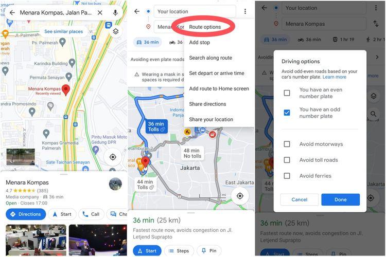 Cara melihat ruas jalan tempat pemberlakuan aturan ganjil-genap menggunakan Google Maps.