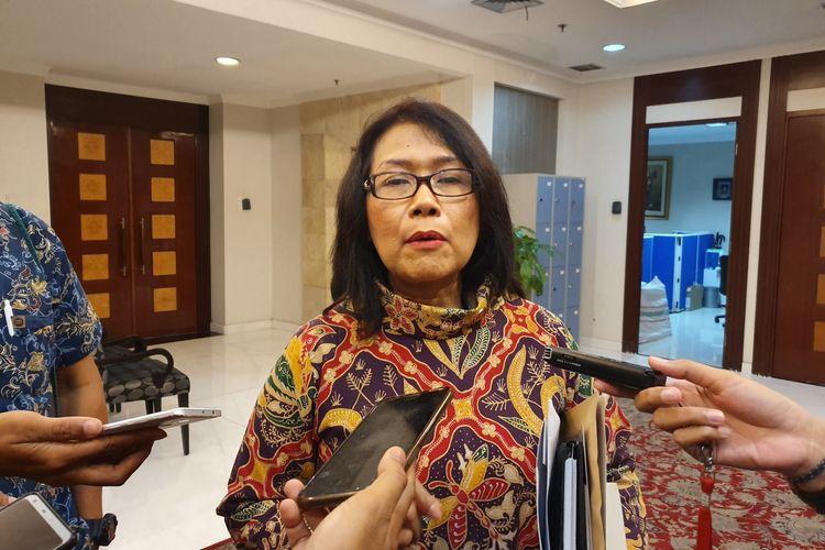 Deputi V Kantor Staf Presiden Jaleswari Pramodhawardani di Kompleks Istana Kepresidenan, Jakarta, Jumat (29/3/2019).