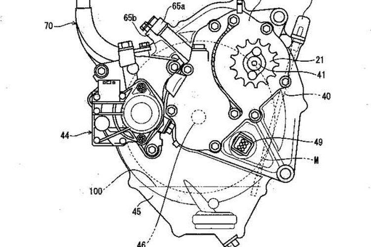 Gambar paten motor listrik Honda berbasis CB125R