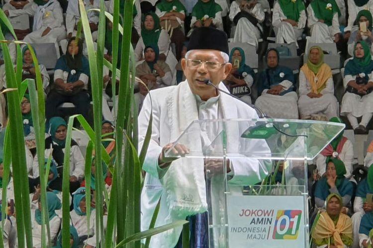 Cawapres nomor urut 01 Maruf Amin di Istora Senayan