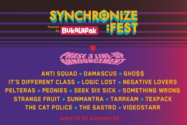 Daftar penampil atau line up fase ketiga Synchronize Fest 2018