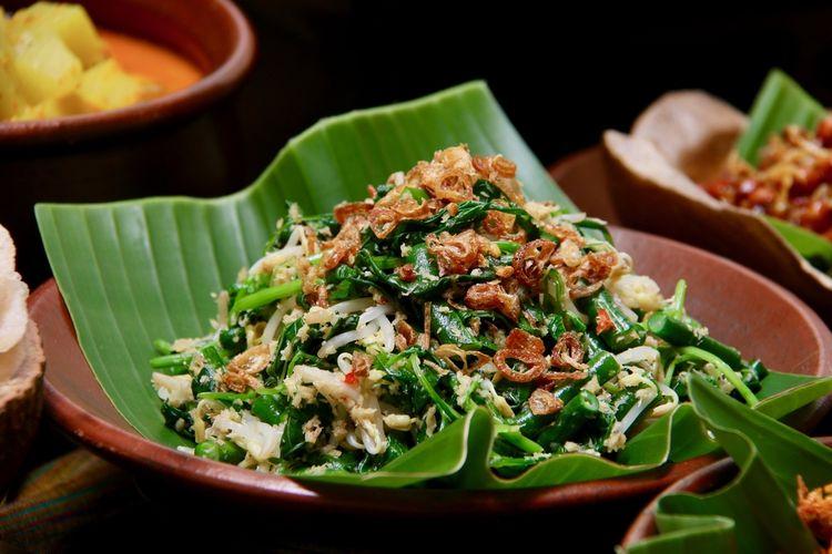 Ilustrasi jukut urap, sebagai pendamping Nasi Bali.