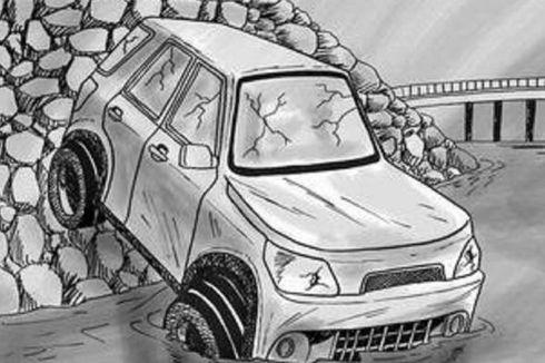 Diduga Rem Blong, Minibus Rombongan Wisata Tabrak Gapura dan Masuk Jurang, Begini Kronologinya