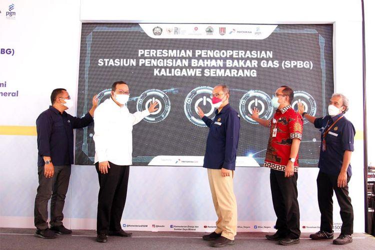 Pengoperasian SPBG Kaligawe diresmikan oleh Direktur Jenderal Minyak dan Gas (Dirjen Migas) Kementerian ESDM Tutuka Ariadji, Jumat (20/8/2021).