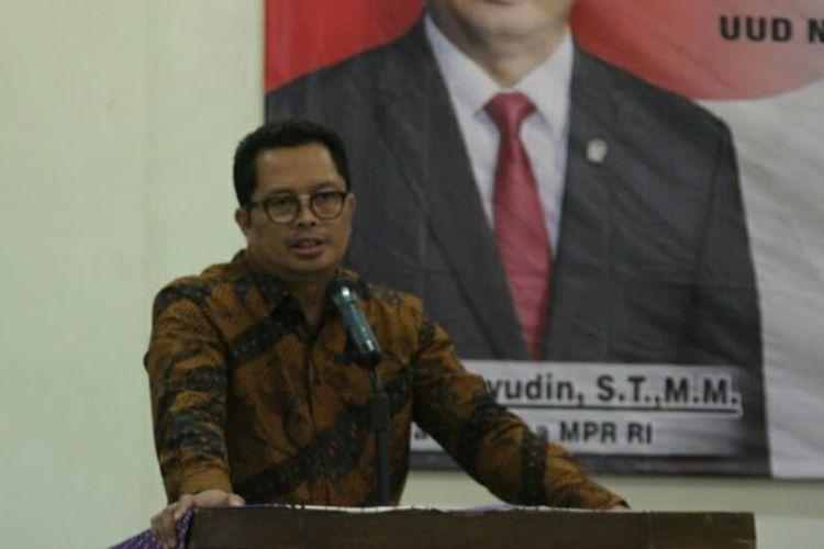 Wakil Ketua MPR RI, Mahyudin saat menyampaikan sosialisasi empat pilar kebangsaan di Kota Batu, Jawa Timur, Selasa (28/8/2018)