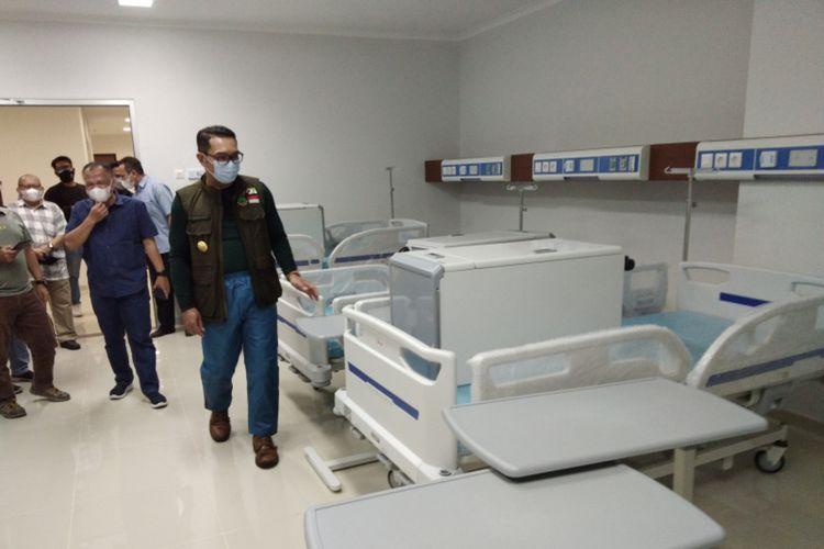 Gubernur Jawa Barat Ridwan Kamil saat mengecek fasilitas di Rumah Sakit Otto Iskandardinata, Kabupaten Bandung, Sabtu (19/6/2021).