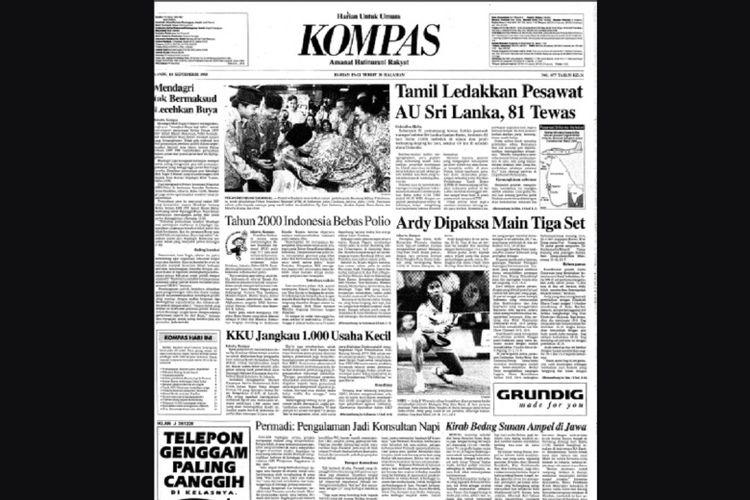 Halaman 1 Kompas edisi 14 September 1995 - (Dok KOMPAS)