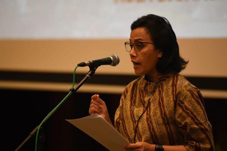 Menteri Keuangan Sri Mulyani saat memberikan sambutan pelantikan 25 pejabat eselon II di Kantor Kemenkeu,Jakarta, Senin (9/9/2019)