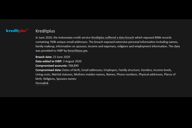 Informasi kebocoran data nasabah Kreditplus telah muncul di situs Have I been pwned.