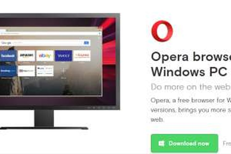 Opera browser untuk PC Windows.