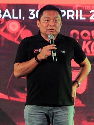 Direktur Utama Telkomsel, Ririek Adriansyah di acara jumpa media di Denpasar, Selasa (30/4/2019).