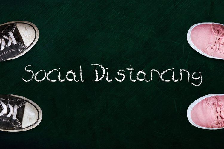 Ilustrasi social distancing, jarak sosial