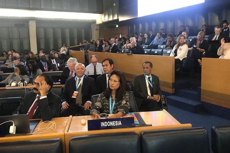 Delegasi Republik Indonesia dalam Sidang Komite Ketahanan Pangan Global ke-46 di kantor pusat Food and Agriculture Organisation (FAO) di Roma, Italia, pada 14-18 Oktober 2019.