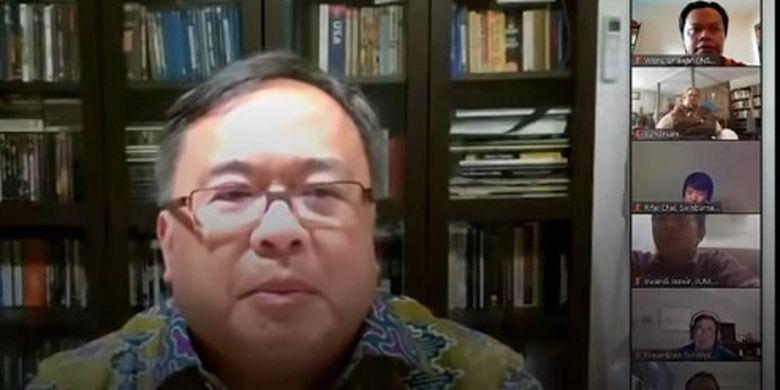Menristek sekaligus Kepala BRIN Bambang Brodjonegoro, saat me-launching Skema Riset Inovasi Diaspora Indonesia Pendukung Penanganan Pandemi Covid-19.