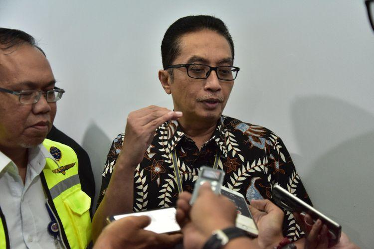 Pelaksana Tugas Dirjen Perhubungan Udara M. Pramintohadi Sukarno saat meninjau persiapan sektor penerbangan di Palembang, Rabu (1/8/2018).