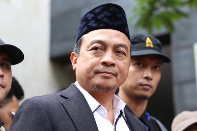 Bachtiar nasir tiba di Kantor Direktorat Reserse Kriminal Khusus, Polda Metro Jaya, Jakarta, Rabu (1/2/2017).