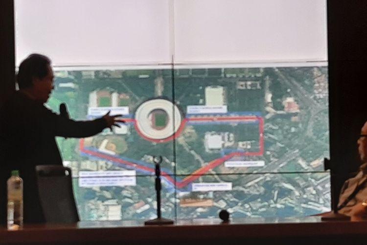Rute balap Formula E jika diselenggarakan di Gelora Bung Karno, Jakarta Pusat