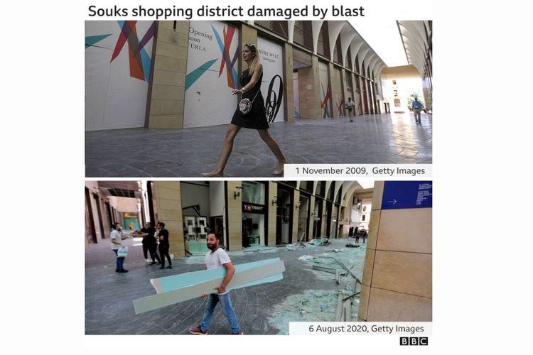 Distrik perbelanjaan Souks sebelum dan sesudah ledakan.