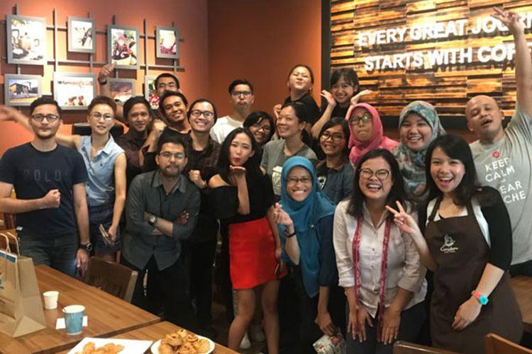 Sebanyak 18 peserta mengikuti kelas kopi bertema Spilling the Beans yang digelar Kompas.com bekerja sama dengan Caribou Coffee di Gedung Sarinah, Jakarta Pusat, Sabtu (7/4/2018).
