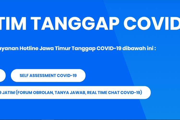 www.infocovid19.jatimprov.go.id, laman yang memuat informasi dan penyebaran wabah Covid-19 di Jawa Timur, dilengkapi fasilitas baru, yakni Fovid-19 atau Forum Obrolan Covid-19.