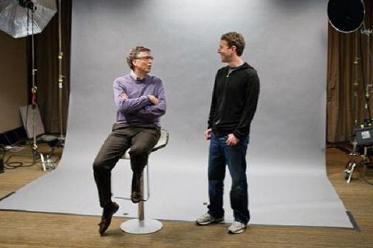 Mark Zuckerberg dan Bill Gates pada sesi pemotretan untuk Wired, membahas kolaborasi terbaru mereka di bidang energi