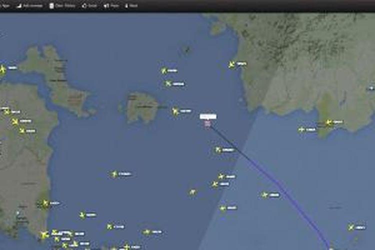 Lokasi terakhir pesawat Air Asia QZ8501 yang direkam situs Flightradar24.