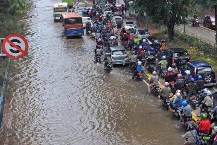 Ilustrasi banjir di Jakarta.