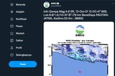 BMKG: Gempa M 4,8 Guncang Pacitan Jawa Timur, Terasa hingga Trenggalek