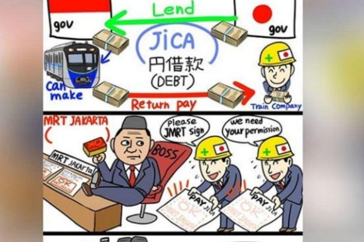 Komikus Jepang, Onan Hiroshi, menyindir Pemerintah Indonesia terkait utang pembangunan MRT Jakarta.