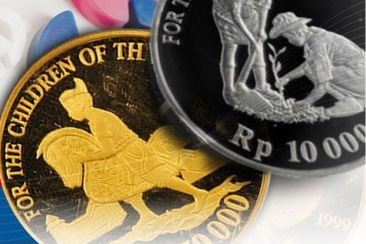 Penampakan uang logam Rp 150.000 terbuat dari emas dan Rp 10.000 dari perak.