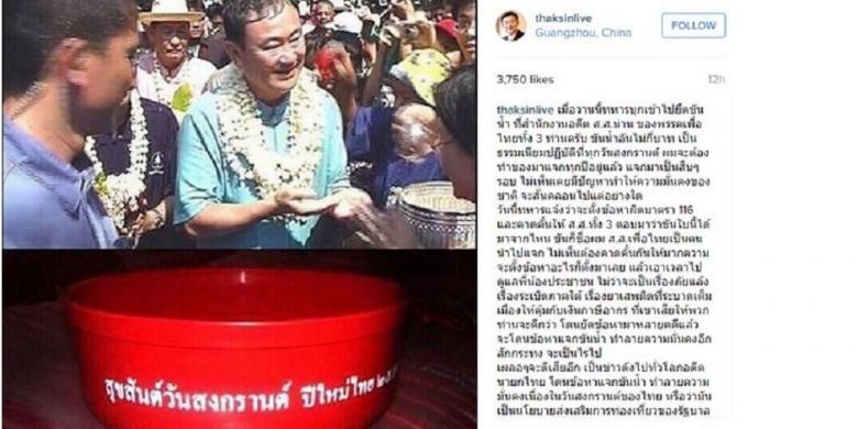 Thaksin Shinawatra menulis di Instagram, Itu kebiasaan saya