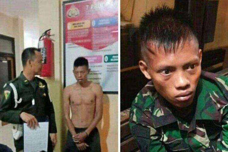 Prajurit TNI AD gadungan yang dibawa ke Mapolsek Semarang Barat Kamis (27/2/2020) kemarin.