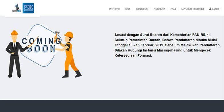 Tampilan menu registrasi pada situs SSP3K