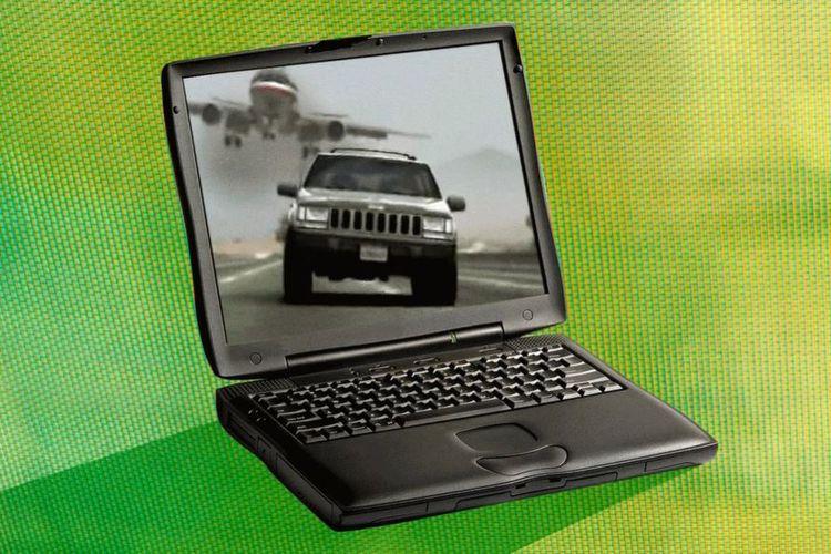 Ilustrasi film 405: The Movie ditampilkan di layar laptop lawas.
