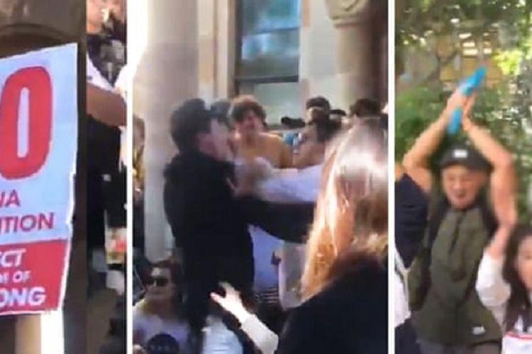 Kolase gambar dari Twitter mahasiswa Universitas Queensland Australia bernama Nilsson Jones memperlihatkan suasana aksi protes antara mahasiswa pendukung Hong Kong dengan pro-China sebelum terjadi bentrok.