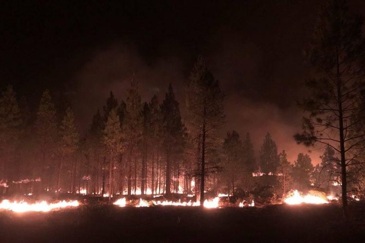 Foto dari Bootleg Fire Incident Command memperlihatkan kobaran api dekat Highway 34 di negara bagian Oregon, Amerika Serikat, Kamis (15/7/2021).