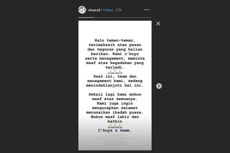 Bidik layar postingan Instagram Story milik boyband pendatang baru asal Indonesia, CBOYS.
