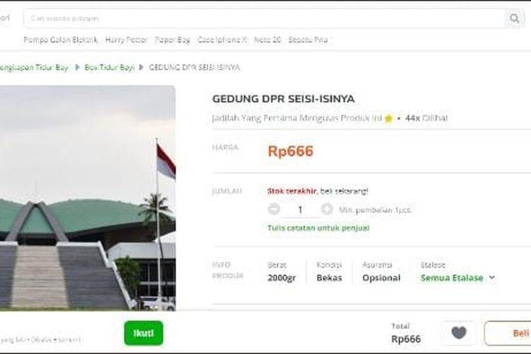 Seller Tokopedia yang menjual Gedung DPR. (Tangkapan dari Twitter)