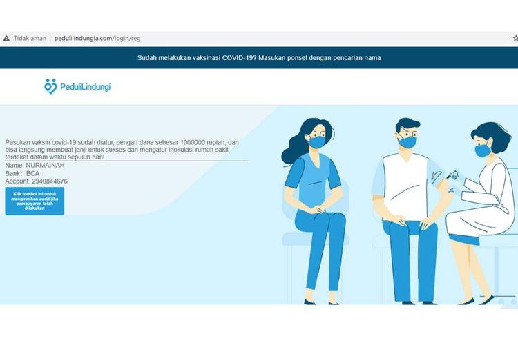 Tangkapan layar situs palsu pedulilindungia.com yang menampilkan nomor rekening