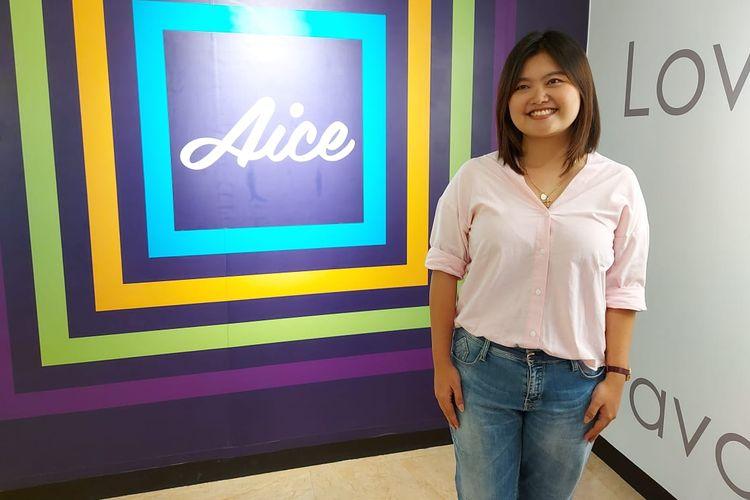 Sylvana Zhong, brand manager Aice group Holdings Pte Ltd saat ditemui di pabrik kedua Aice di Mojokerto, Jawa Timur.