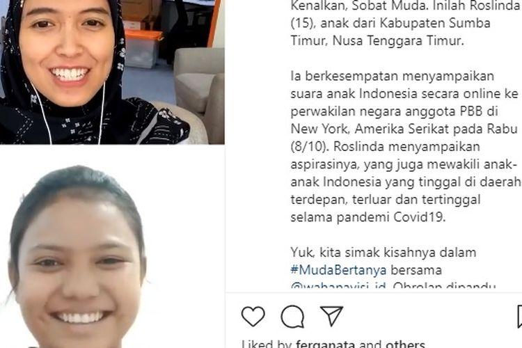 Roslinda menyampaikan suara anak Indonesia di PBB terkait pandemi Covid-19.